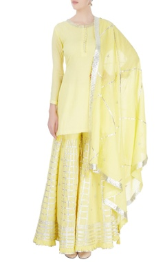 Lemon yellow sharara set
