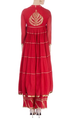 Red flared kurta with palazzo