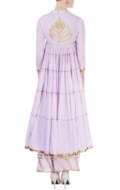 Lavender flared kurta with palazzo