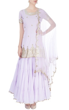 Lavender kurta with skirt & dupatta