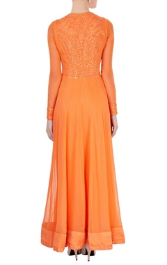 Orange embroidered anarkali set