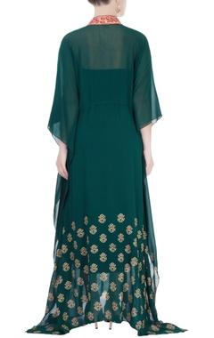 Emerald green kaftan-style maxi