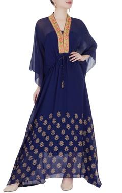 navy blue kaftan-style maxi