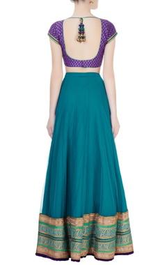 Turquoise & purple lehenga set