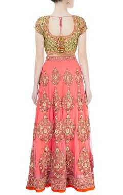 Pink & green sequin embroidered lehenga set