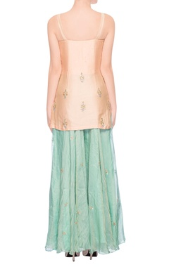 Peach & light green embroidered palazzo set