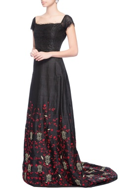 black embroidered gown with trail