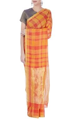 Orange & red linen sari