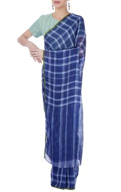 Navy blue checkered linen sari
