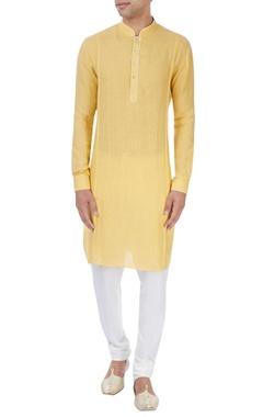 yellow & white pleated kurta set