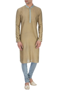 Olive green pin tucked kurta set
