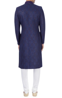 Navy blue embroidered sherwani
