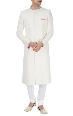 Off white embroidered sherwani with pink highlights