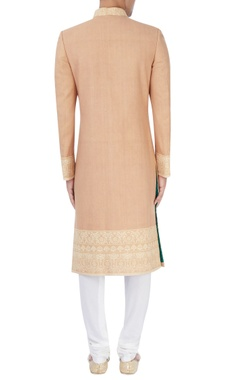 Beige embroidered sherwani