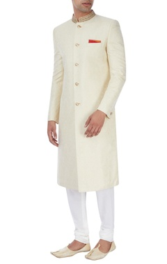 Gold embroidered sherwani with paisley motif