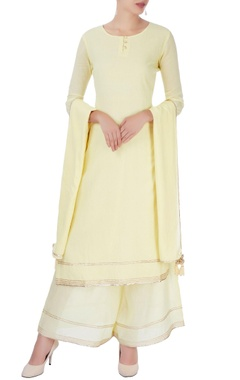 Pastel yellow kurta set