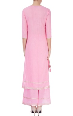 Pink kurta set with tassels
