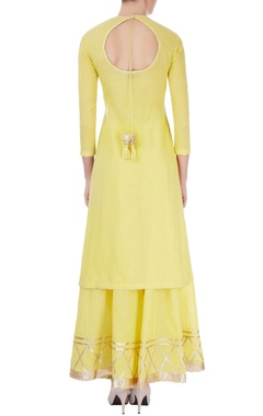 Yellow kurta set with tassels