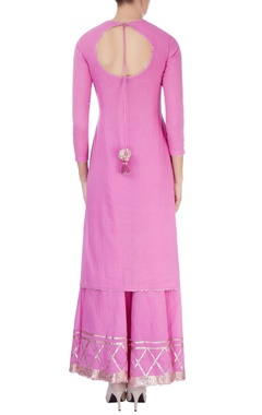 Pink gharara set with line details