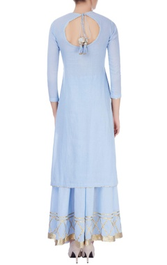 Blue sharara set with line details