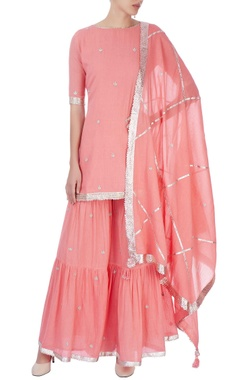 Peach sharara set with embroidery