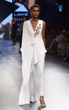 White asymmetrical jumpsuit
