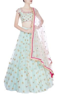Sea green & pink embellished lehenga set