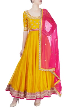 Mustard yellow & hot pink embroidered anarkali set