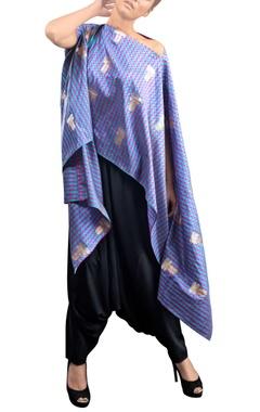 blue checkered kaftan with pants