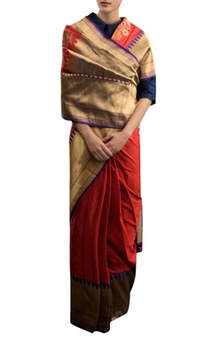 Pinki Sinha Brick red silk sari