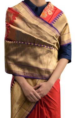 Brick red silk sari
