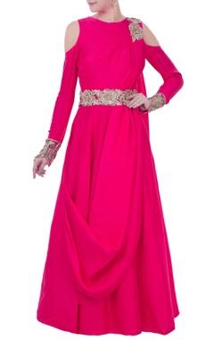 hot pink cold-shoulder anarkali set