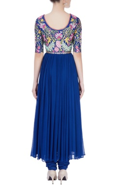 Navy blue anarkali with resham embroidery