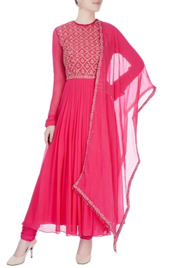 Fuchsia pink anarkali with hand embroidery