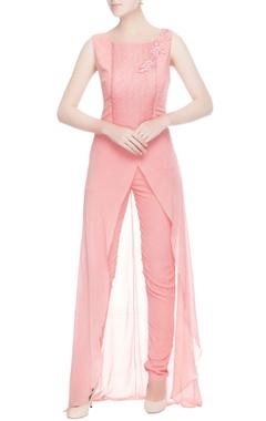 Coral pink floral print jumpsuit
