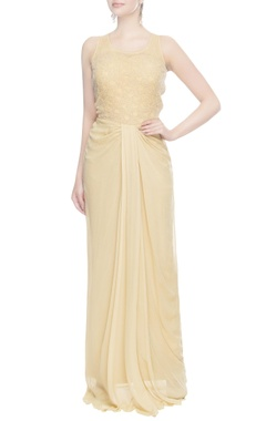 Beige & gold pleated style gown
