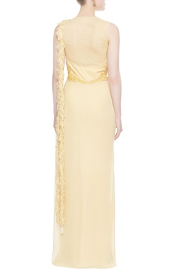 Light yellow floral embroidered sari gown