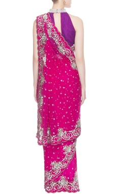 Pink & purple sequin work sari and blouse