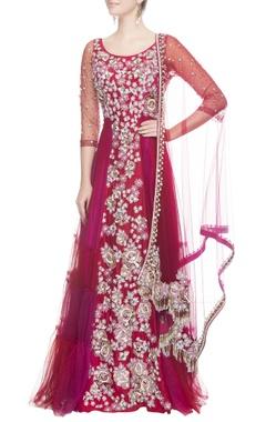 Neeta Lulla Dark pink kurta gown & dupatta