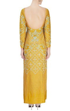 Mustard yellow sequin printed gown