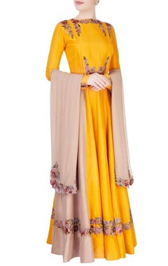 Manish Malhotra Yellow embroidered anarkali features shiny embroidered patches in select places