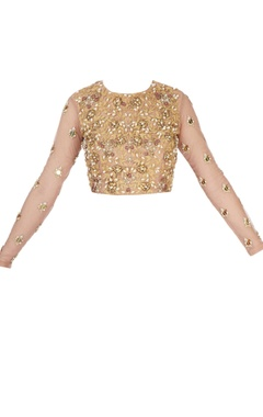 Gold blouse with sheer sleeves