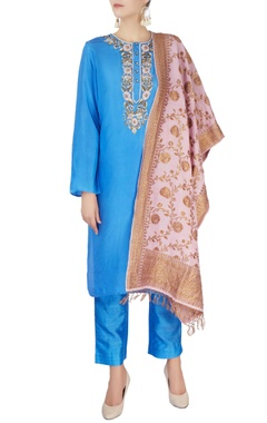 Monisha Jaising Cerulean blue kurta set