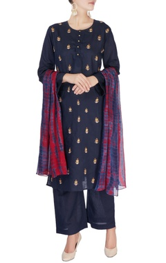 Monisha Jaising Navy blue embellished kurta set