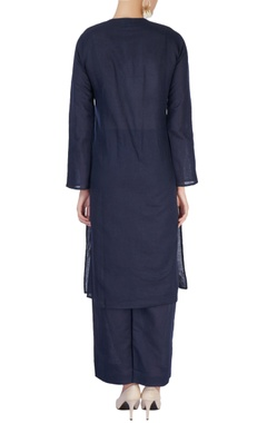 Navy blue embellished kurta set