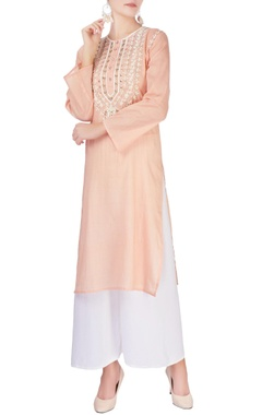 Monisha Jaising Peach embellished long kurta