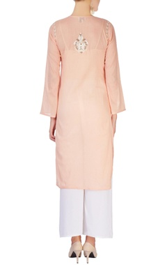 Peach embellished long kurta