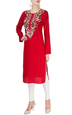 Monisha Jaising Red embroidered kurta