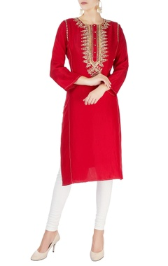 Monisha Jaising Red mirror work kurta