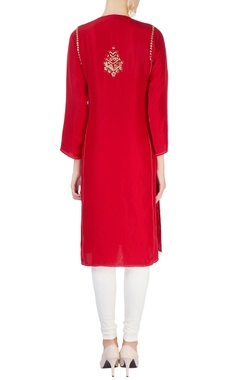 Red mirror work kurta